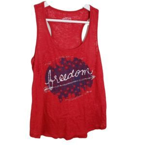 USA Red Freedom Graphic Burn Out Tank Top Size M